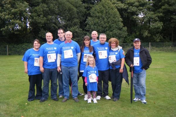 Christine's family taking part in the Walk of Hope in her honour two weeks after her death