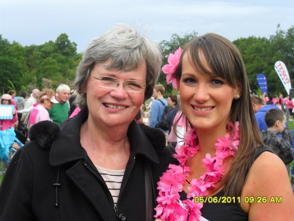 Christine and her daugher Jayne at the race for life June 2011
