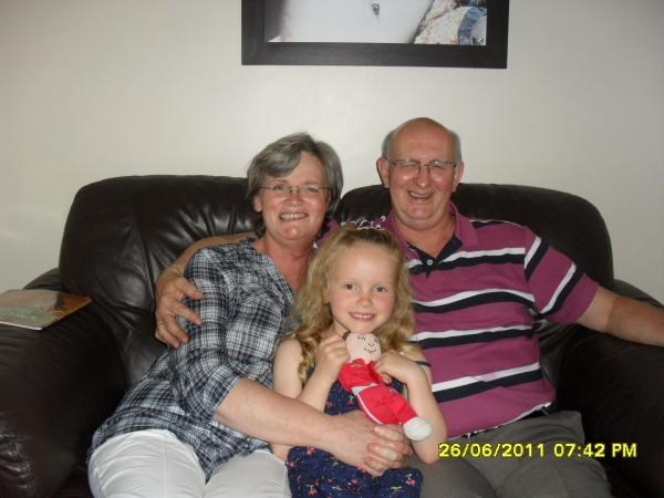 Christine with her husband Fred and her eldest grandaughter Abbie - June 2011