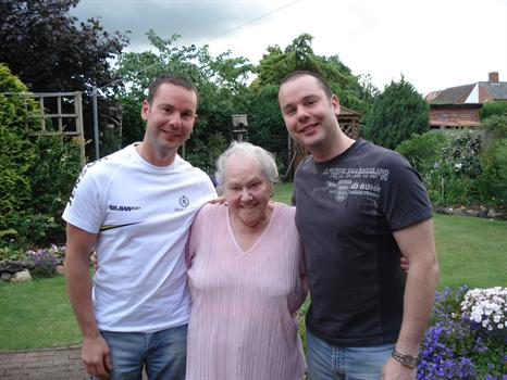 Nana with loving grandsons John and Simon