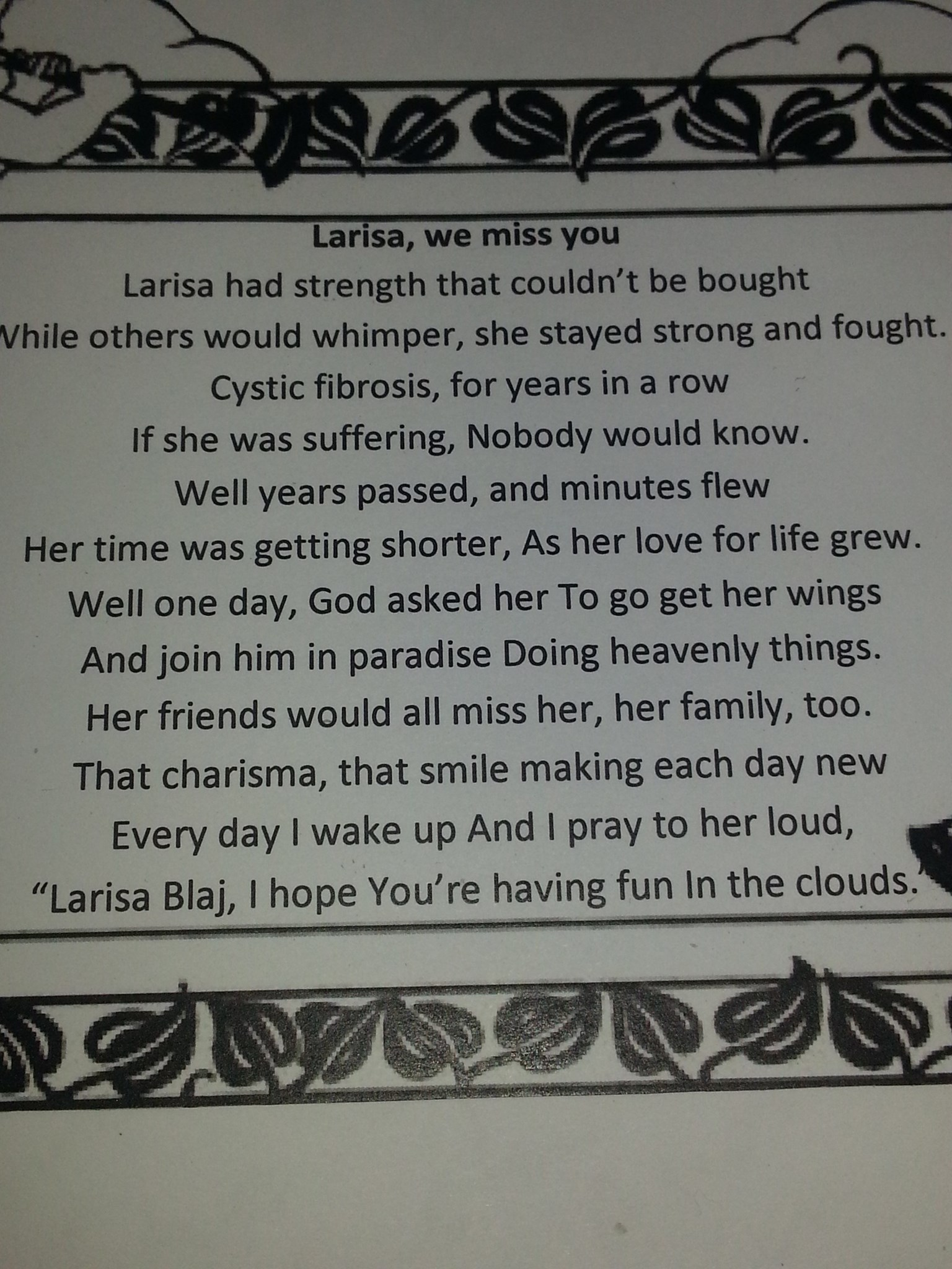 one of Larisa's friends poem for her