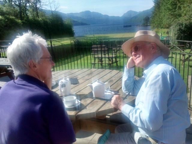 Relaxing at the foot of Loch Lomond with his brother-in-law Ian, May 2014