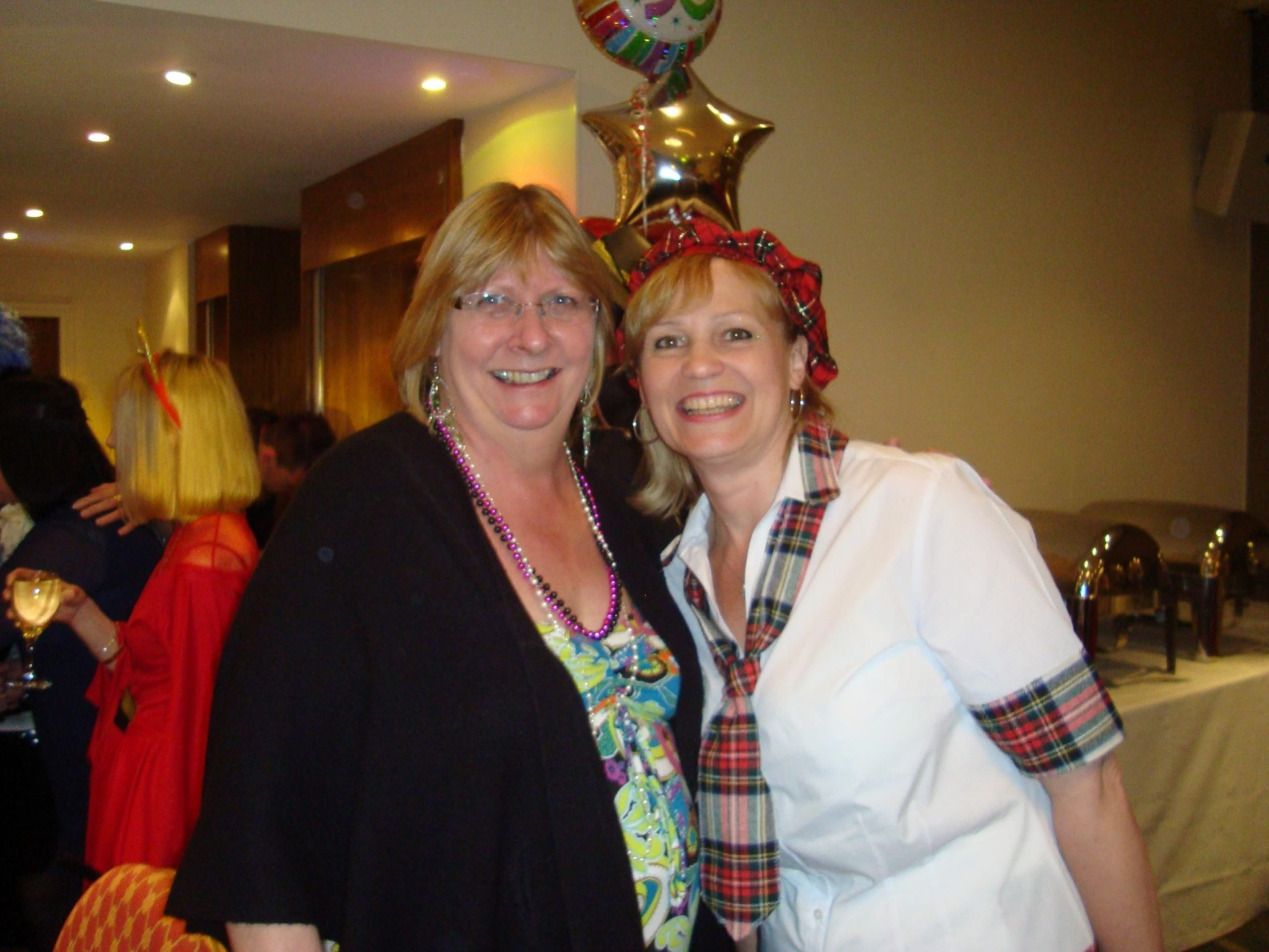 Carrie (hippy) and Karen (Bay city roller fan) - Helen K's 50th