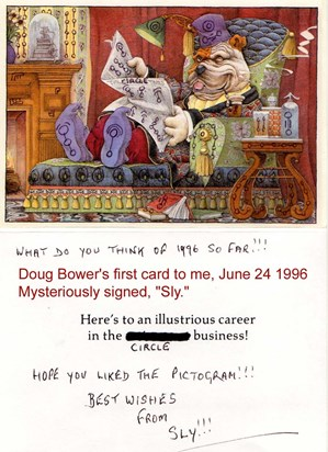 Dougs sense of humour: Doug Bowers 1 first card to Peter Sorensen