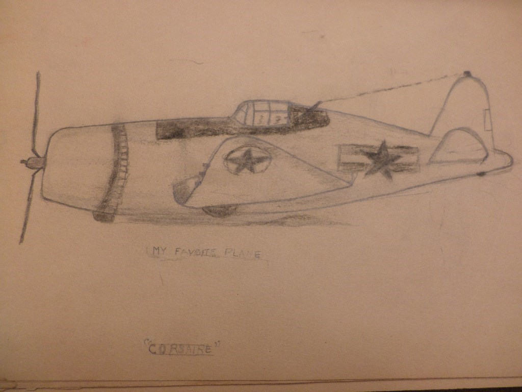 "Glen's sketch (age 11) of his favorite plane a ""Corsaire"""