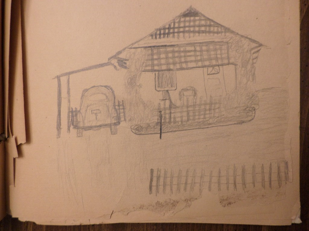 Sketch rendering one of his childhood homes, by Glen - 1943