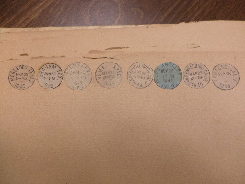 Glen's childhood postmark collection - See description