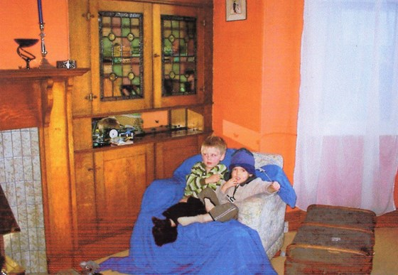 Shortly after we moved to Willowbrae, Joe 3, Calvin 2, watching telly together. Best of friends, best of boys.