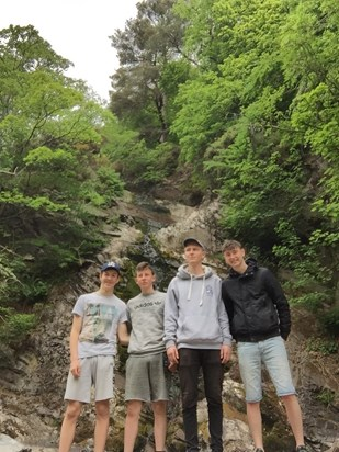 Mo, Joe, Calvin and Jesse on their Flotterstone camping trip June 2017