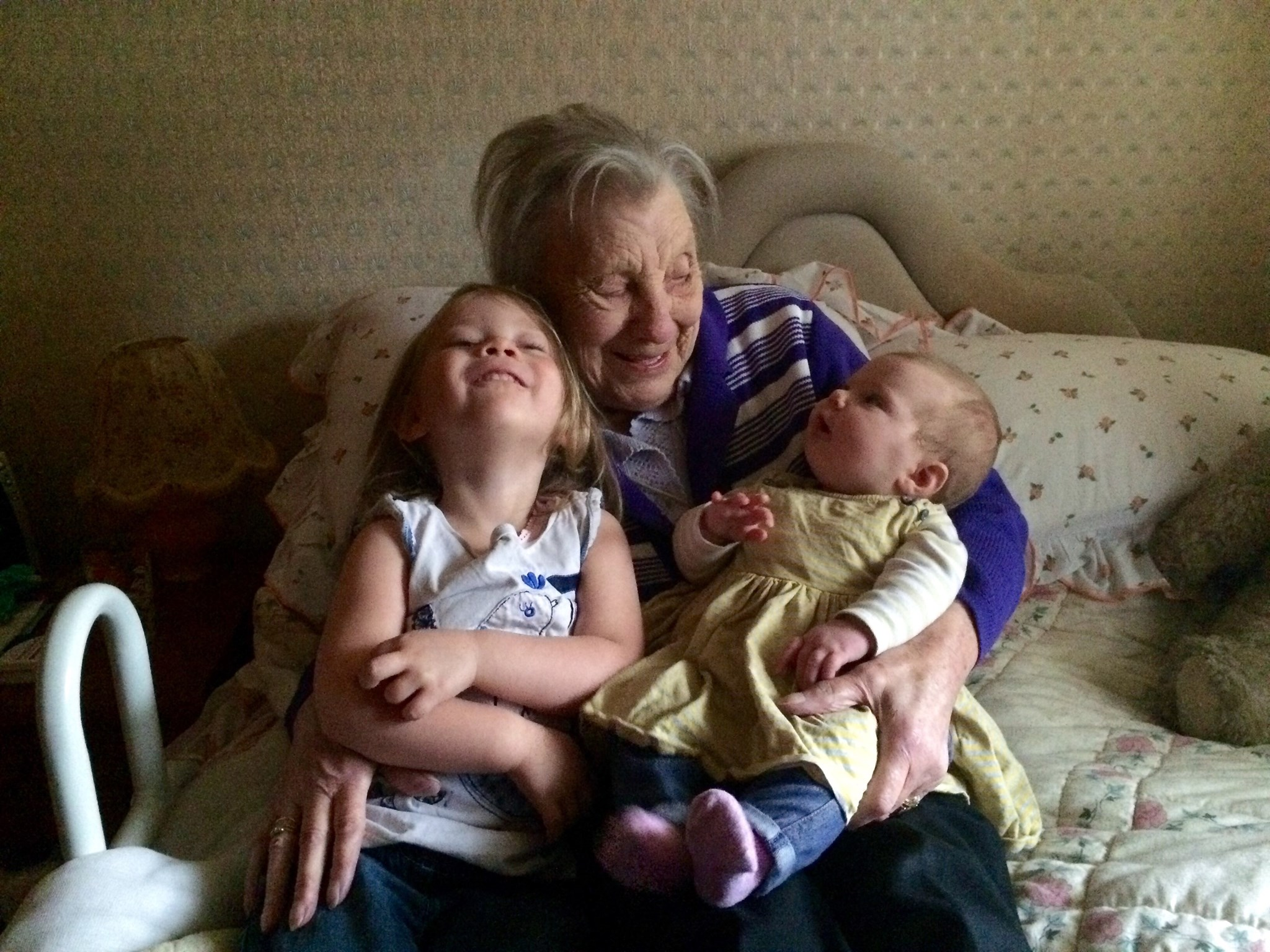Joyce with Her great grandchildren Ada and Baby Lily