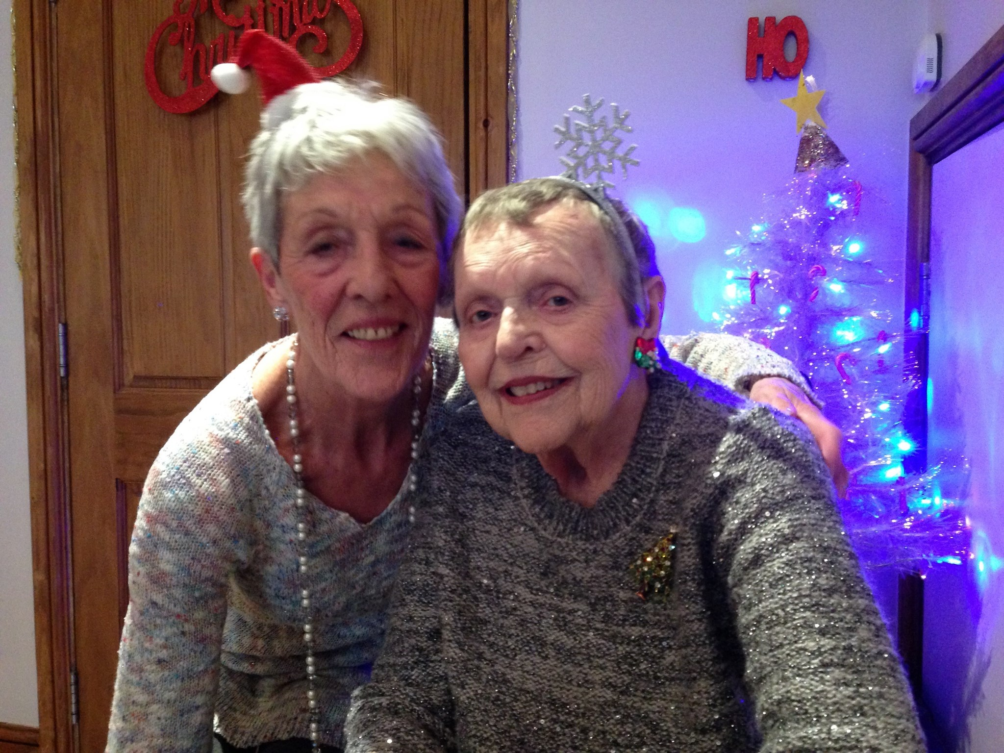Carolyn and Mum at Churchill's on Christmas Day, 2016