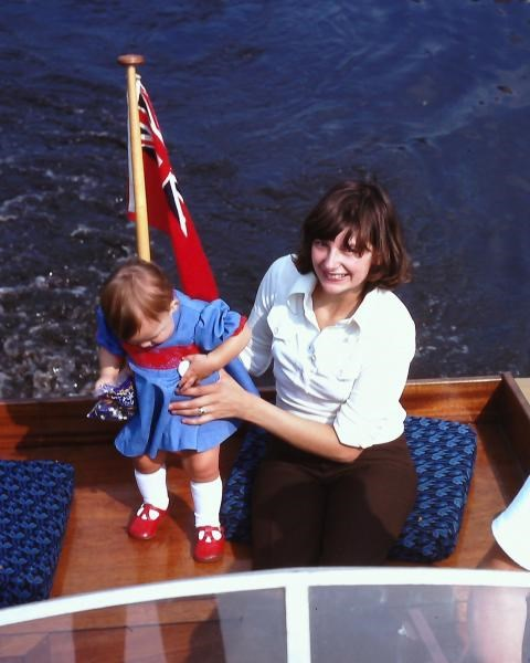Gill and Sarah on her dad's boat - 1975
