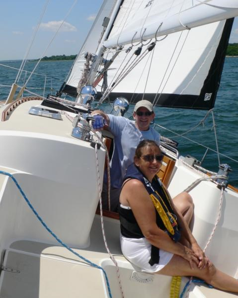 Gill and Peter sailing - June 2008