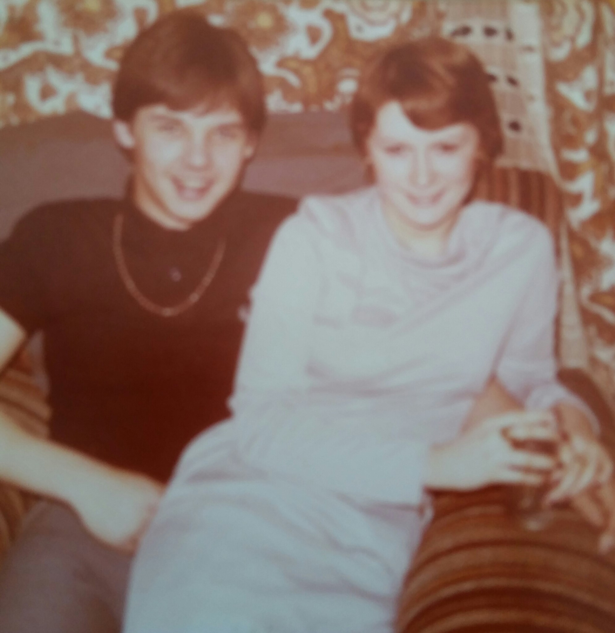 Before we were married in 1979 and could both fit comfortably in the same armchair :-)