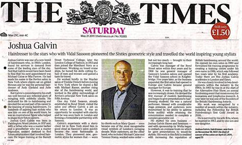 Joshua Galvin a Tribute from TheTimes Newspaper May 2011