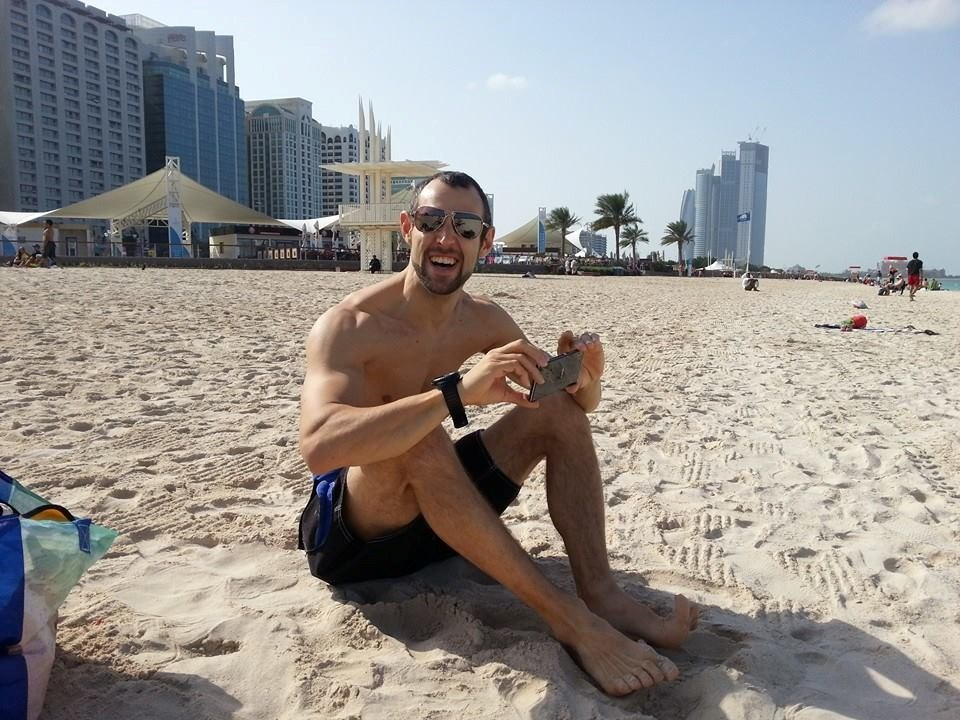 On the beach in Abu Dhabi prior to Christmas '13