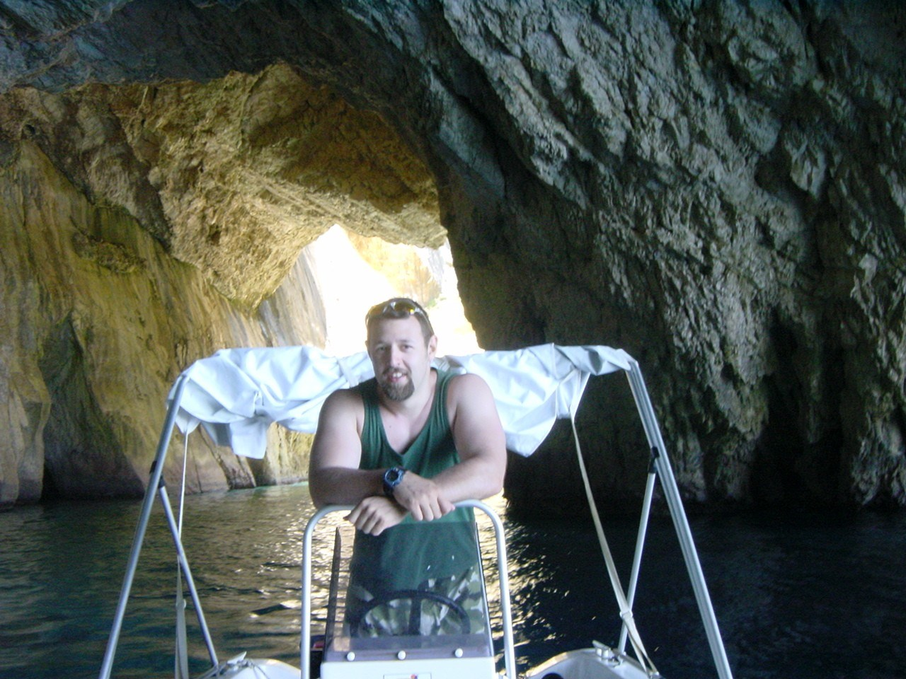 In one of the many caves we really weren't meant to take the boat into. Paxos, 2005.