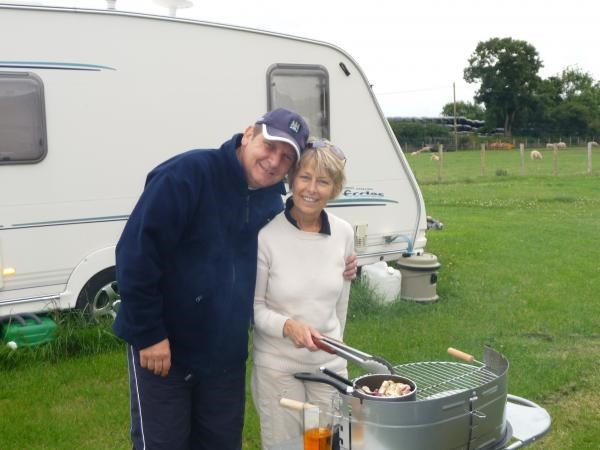 Barry & Alison at their caravan in Abersoch