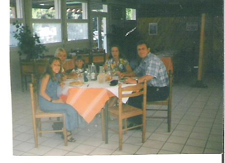 Family meal on holiday in France