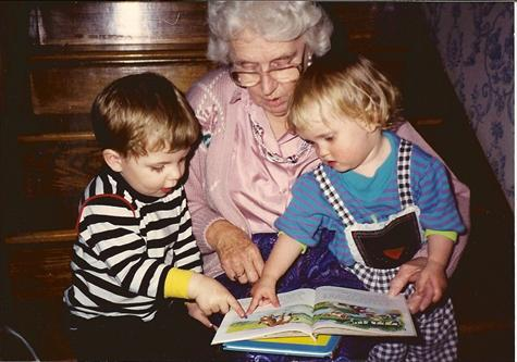 Grandma Parr, Chase and Josh reading