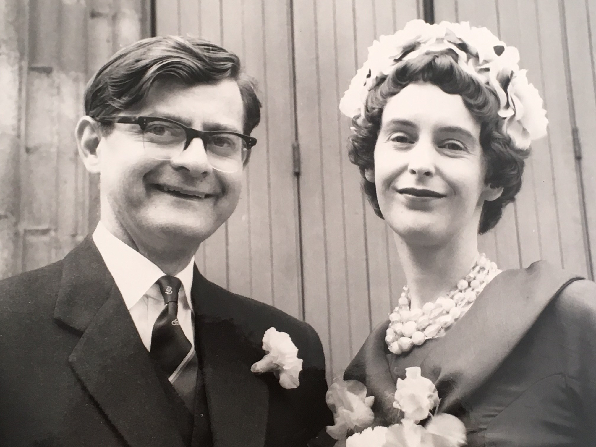 Pat & Len on their wedding day, at St Mary's Magdalen RC Church, Seaham, Co Durham, August 17th 1961