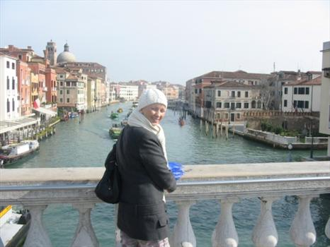 Sam looking down the Grand Canal in Venice