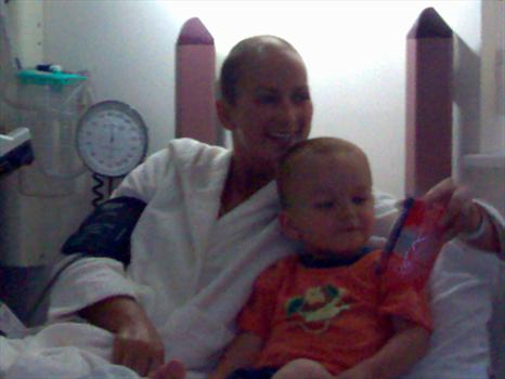 Sam in hospital.  Her nephew Jake came to visit.