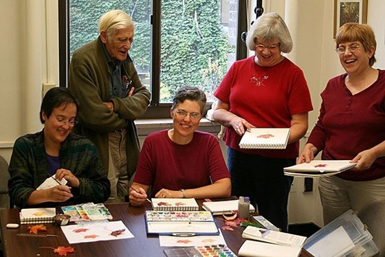 Jack's art class at Cornell with Horticulture staff