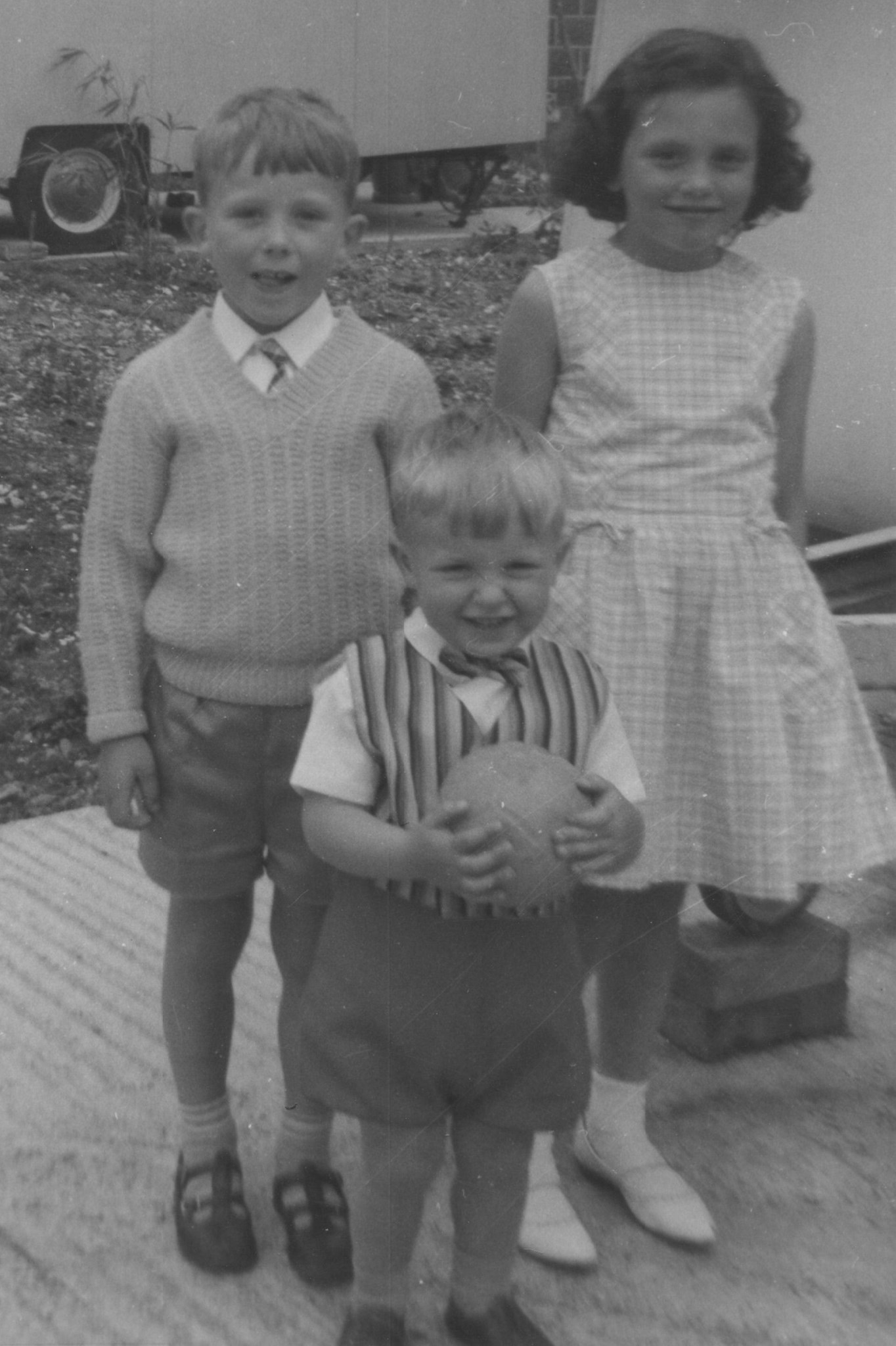 John with ball and waistcoat with brother Paul and cousin Hazel