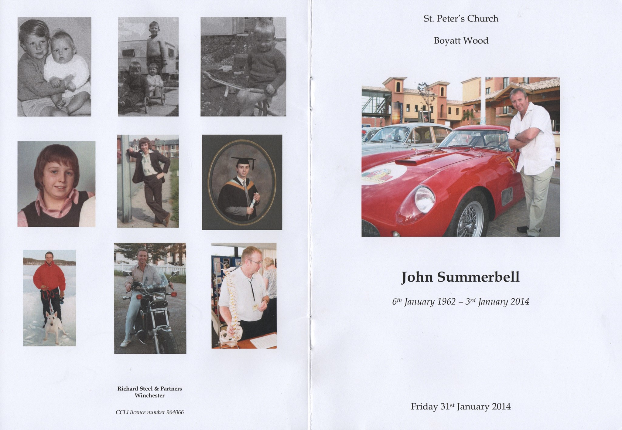 John Summerbell Order of Service pages 1 and 8