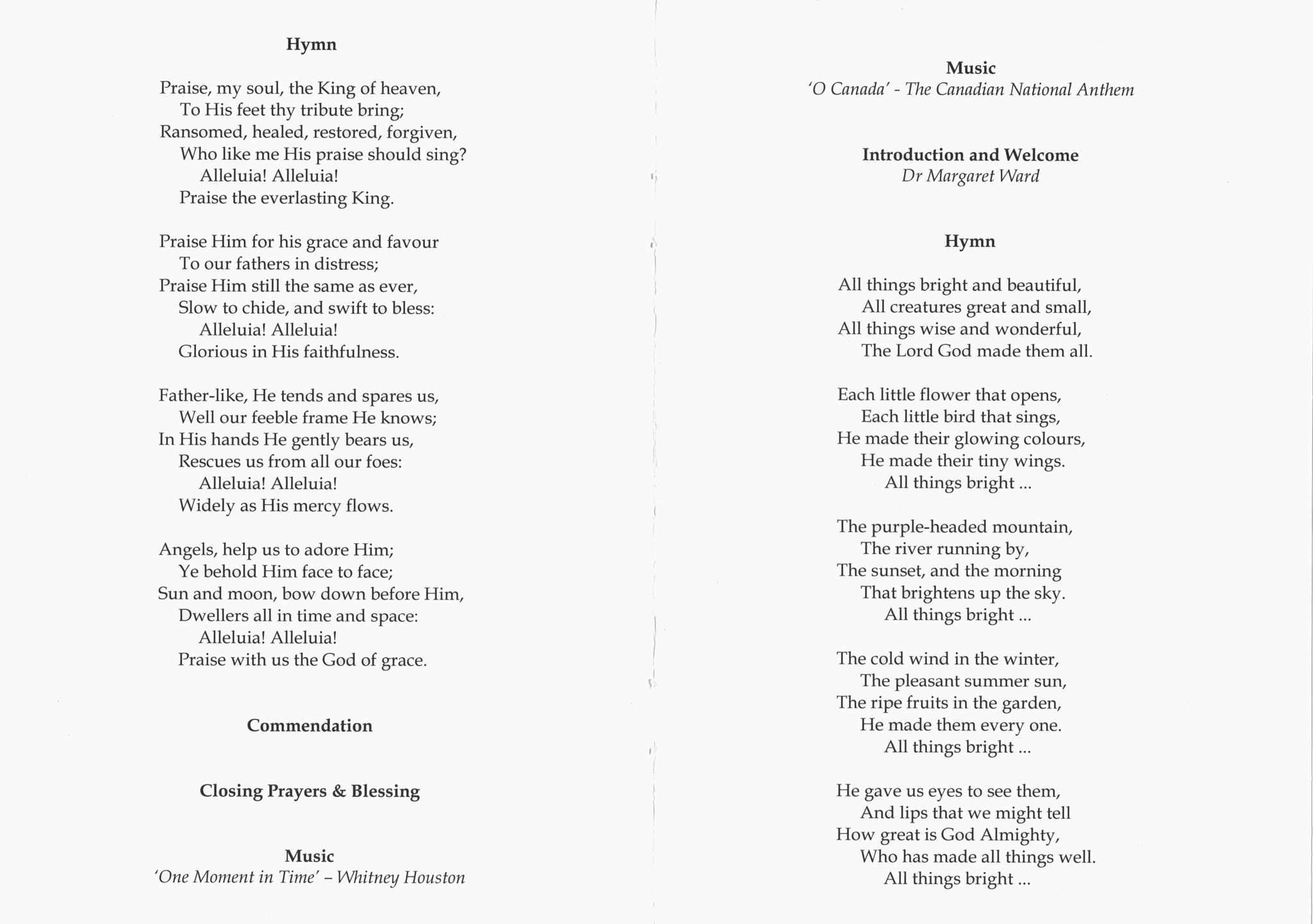 John Summerbell Order of Service pages 3 and 6