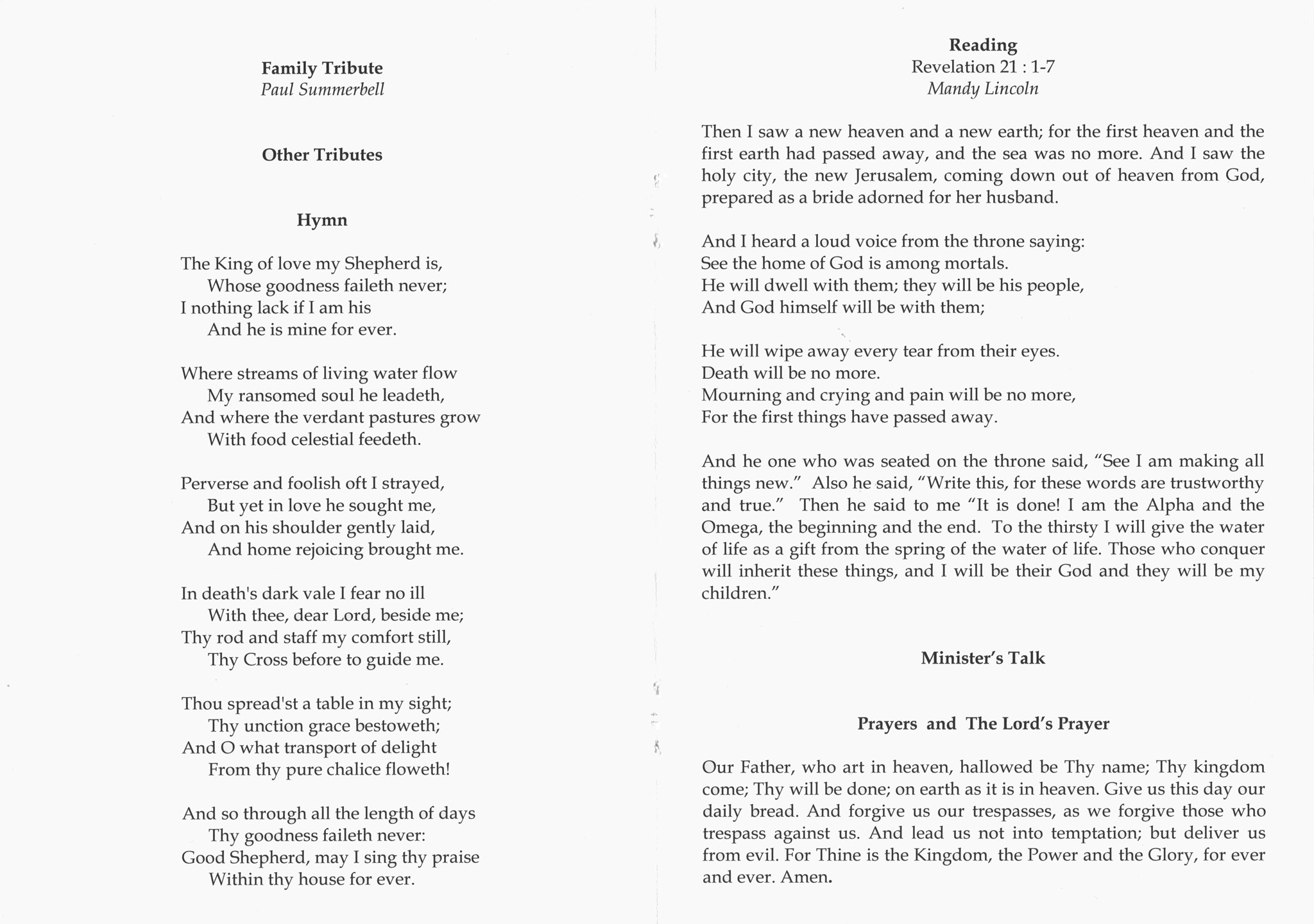 John Summerbell Order of Service pages 4 and 5