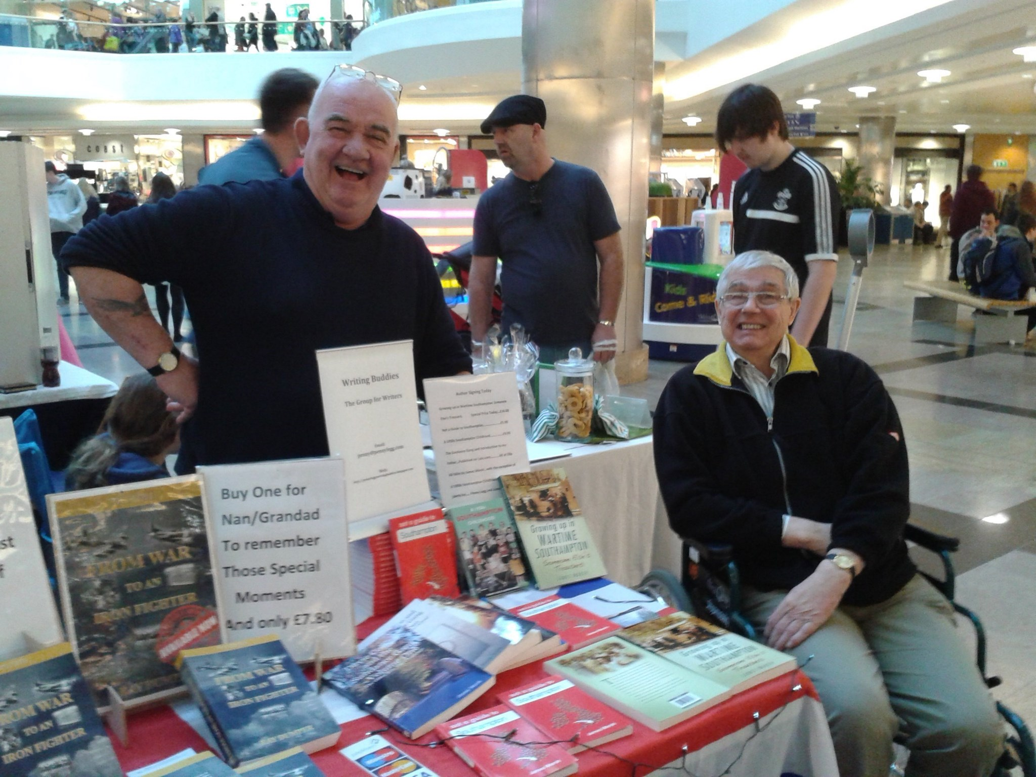 Jimmy with his friend and fellow Writing Buddy, Ray Dumper.  2014 book signing at West Quay.