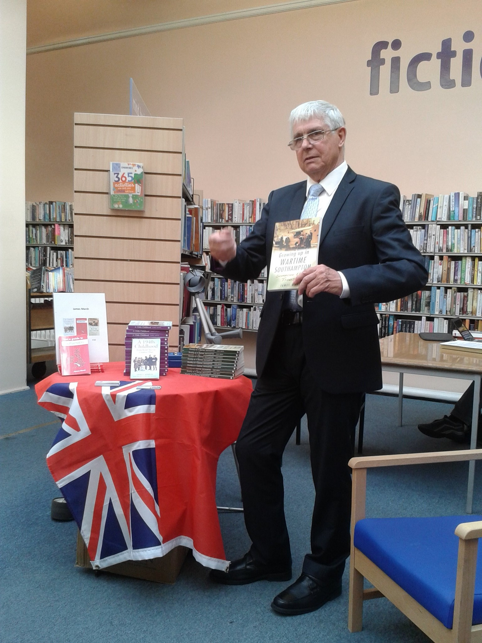 Jimmy speaking at Portswood Library about his book, Growing Up in Wartime Southampton: Other People's Trousers, 2014