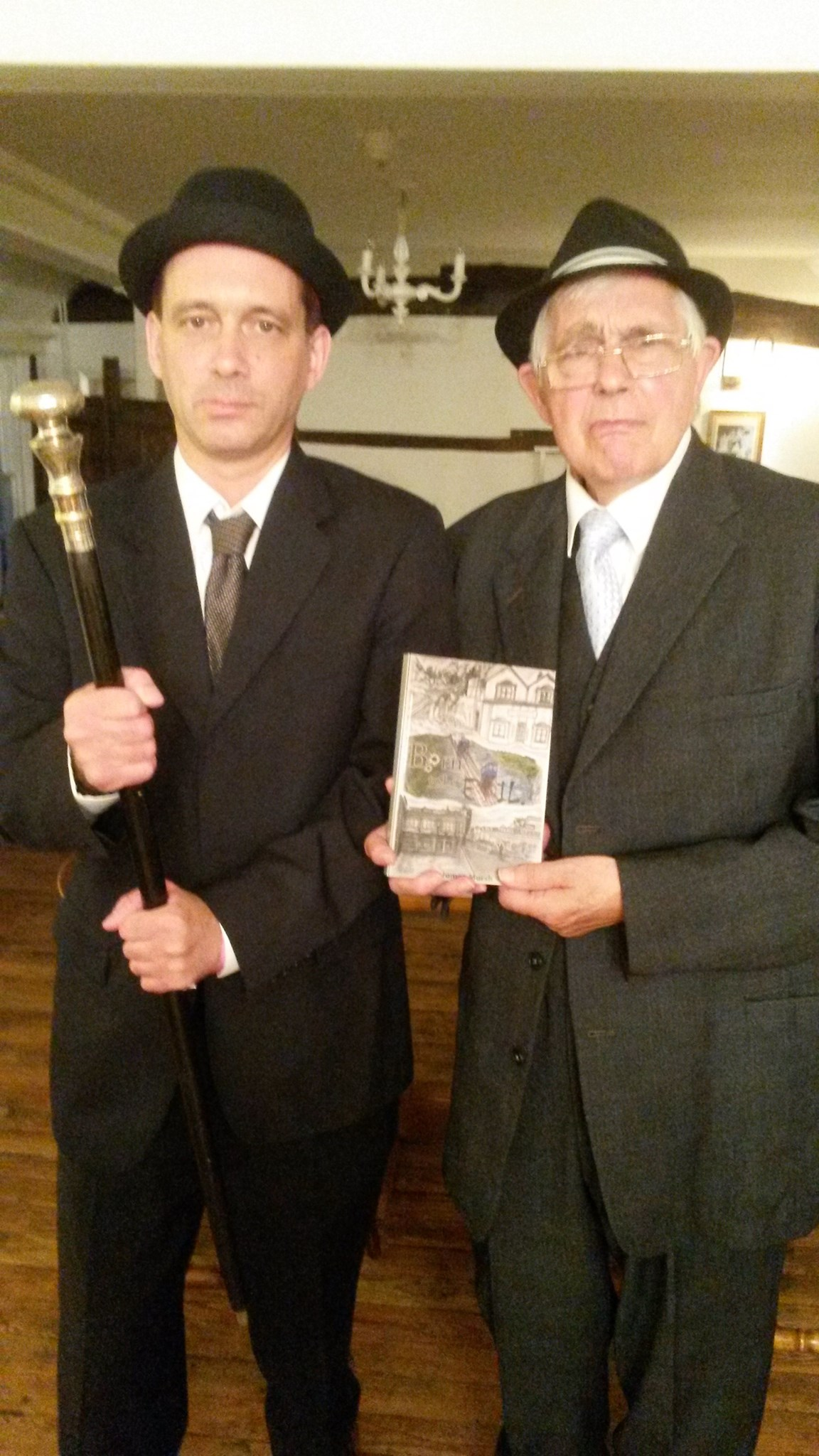 James and Jimmy, gangsters, larking around at the launch of 'Born to be Evil', 2015
