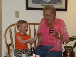 Gramma Beth having fun with her greatgrandson Sean