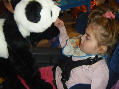 Dancing with the panda puppet