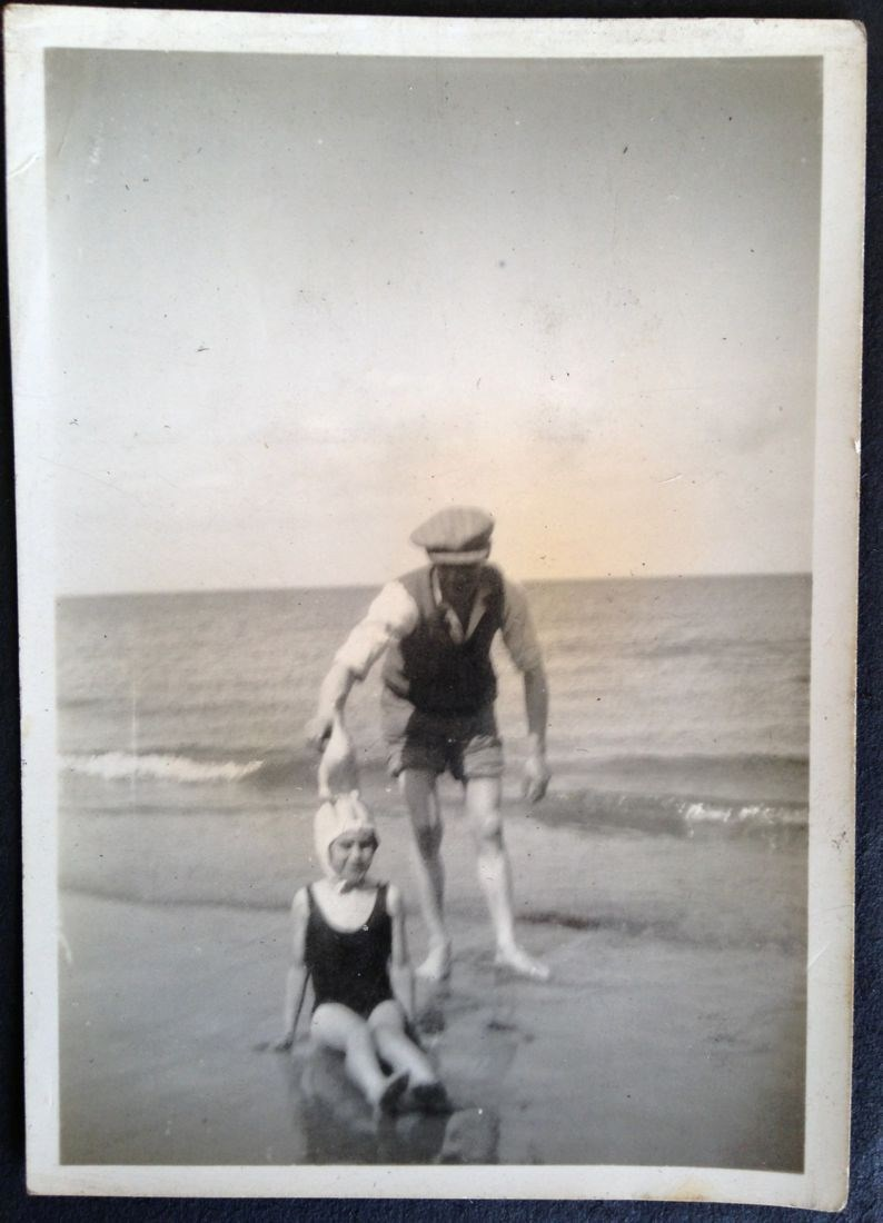 Joan and her Dad at the coast