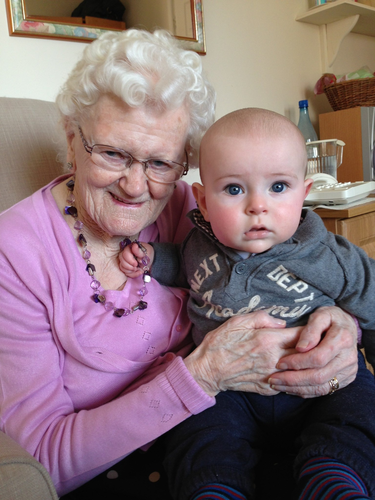 Gran and Henry. From Barrie and Jane. Xxx