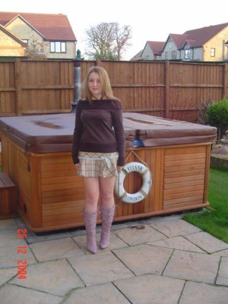 Penny next the Hot Tub