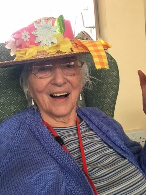 Mum wearing her Easter bonnet this year