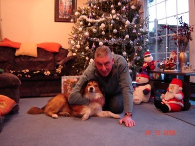 Dad & Budley at Christmas