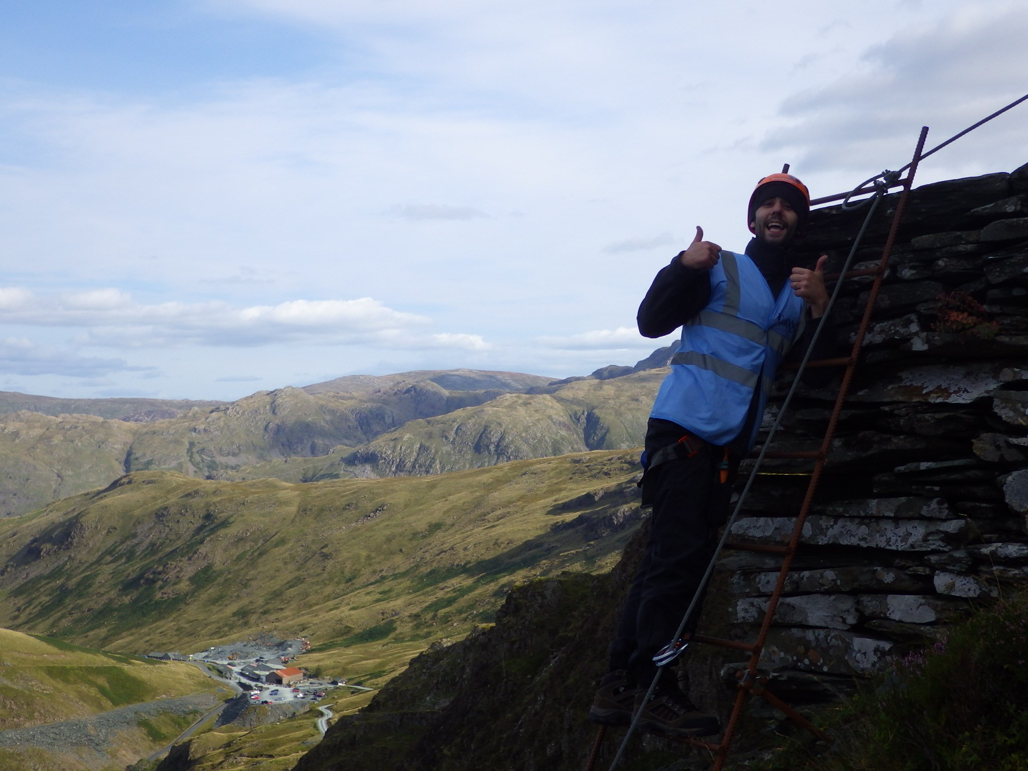 Daddy reaching the top . . horay!