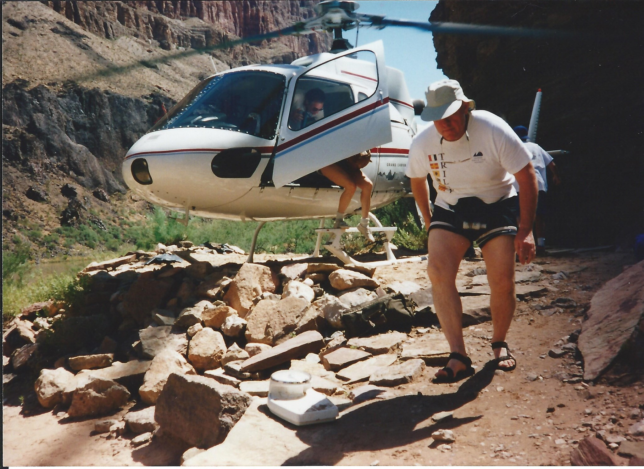 Mike getting off the helicopter in the Grand Canyon