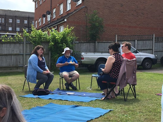 25th June 2017. Sharing a BBQ, prepared by Lev and Emma, at the Oak Church