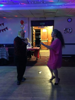 December 2017. Robin and Ruth dancing at Ronnie's 50th birthday celebration.