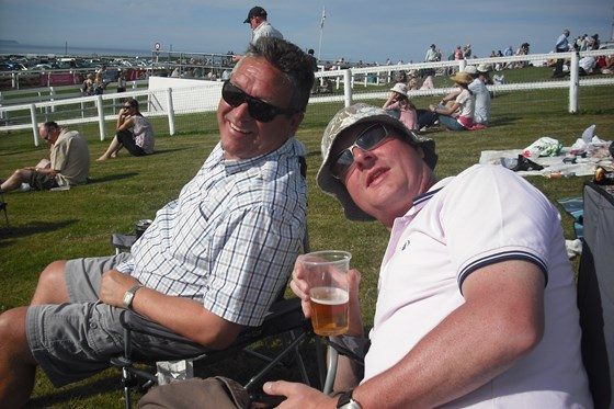 James and Alan at the races in Jersey.