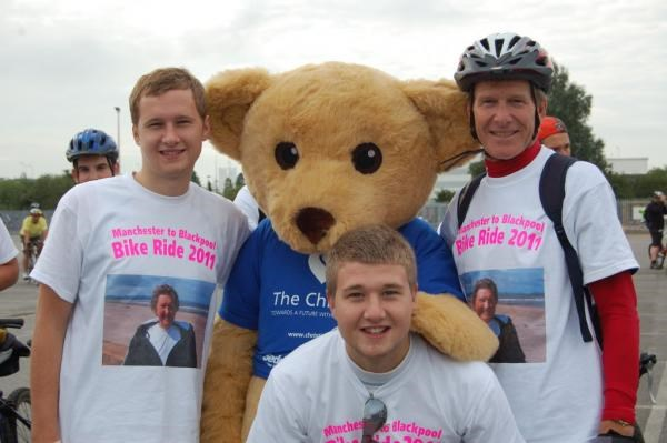 manchester to blackpool bike ride 2011 with my 2 sons Steven & Philip