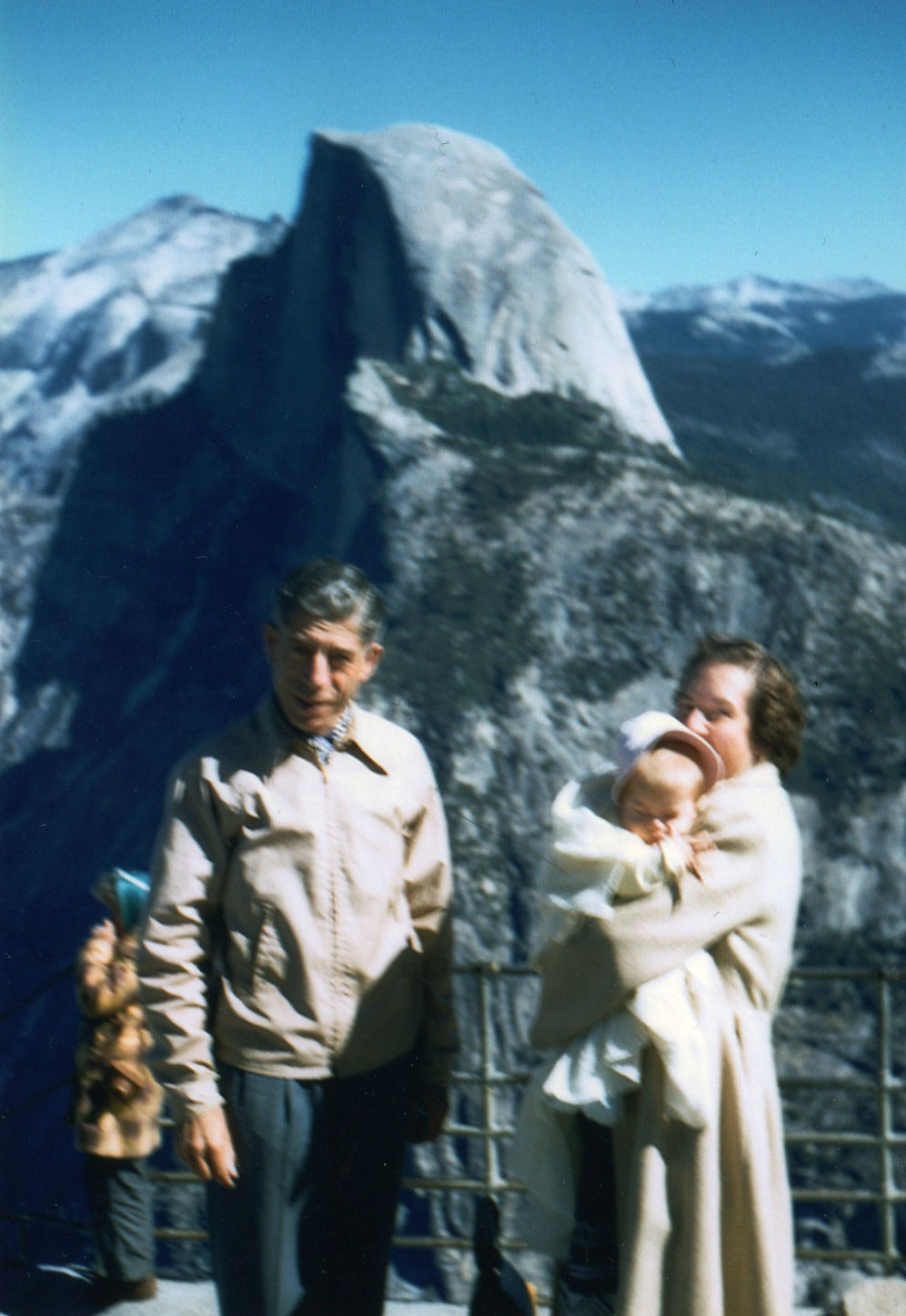 Dick, Verna and little Cat (Cathy) in Yosemmite