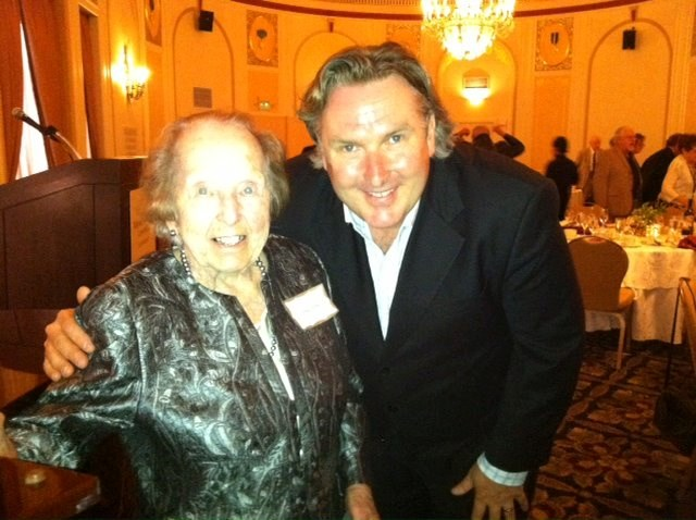 "Mom ""with heldentenor Simon O'Neill at the Wagner Society of Northern California"